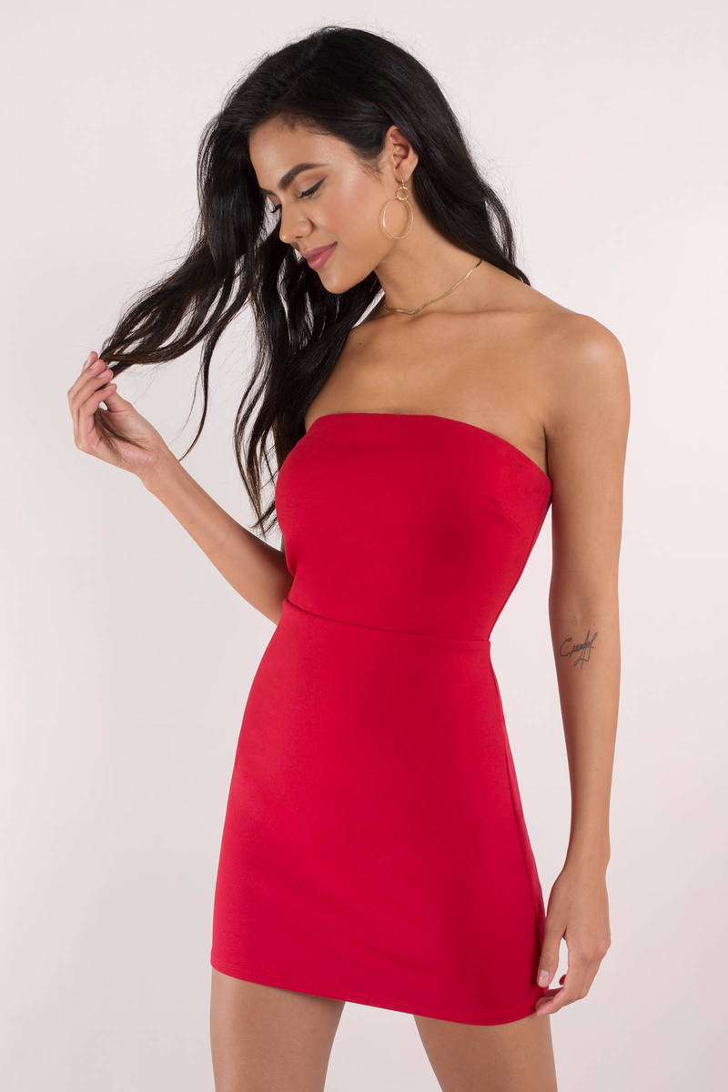cute dress strapless dress open back red bodycon