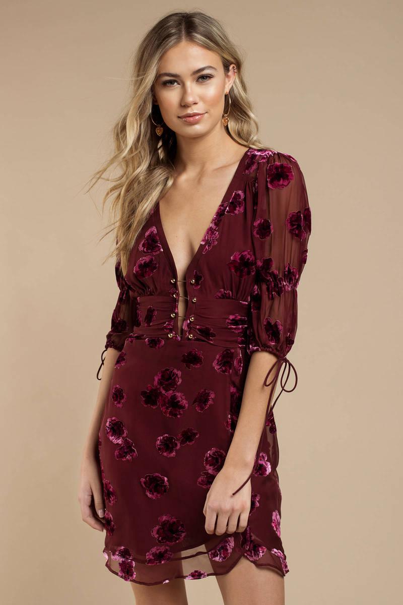 21347837ce14 For Love and Lemons For Love And Lemons Sophie Red Velvet Floral Mini Dress