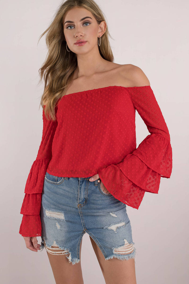 364af5d81 Trendy Red Blouse - Ruffle Sleeve Blouse - Red Off Shoulder Top ...