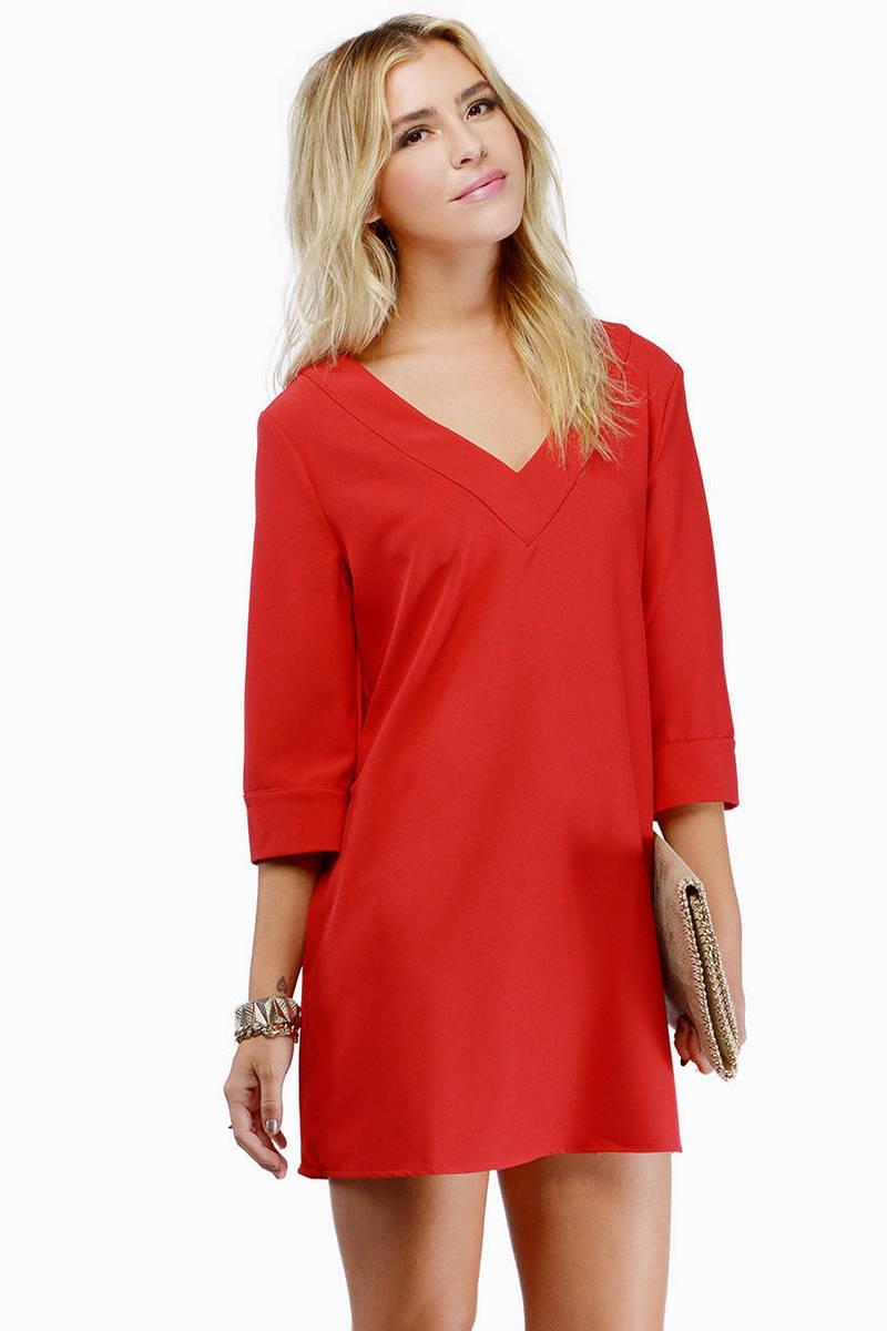 Talk Shop Red Shift Dress