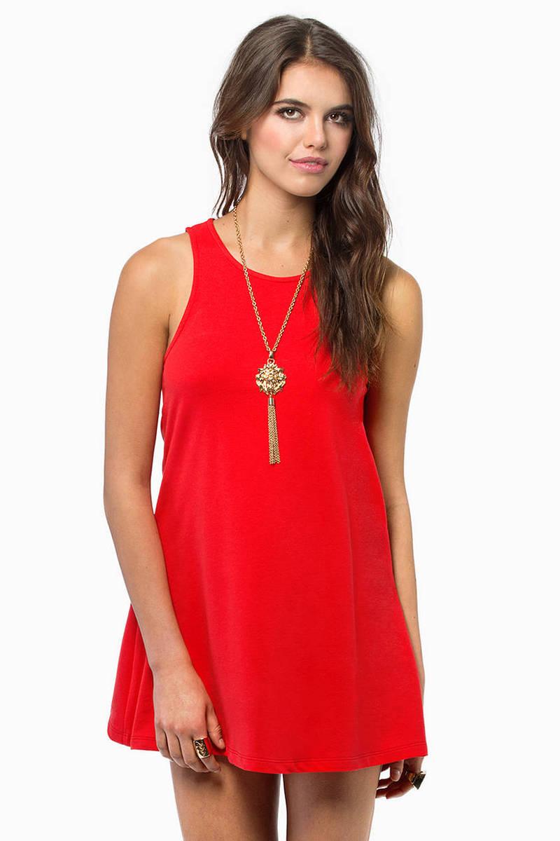 Tarna Red U Neck Tunic Day Dress