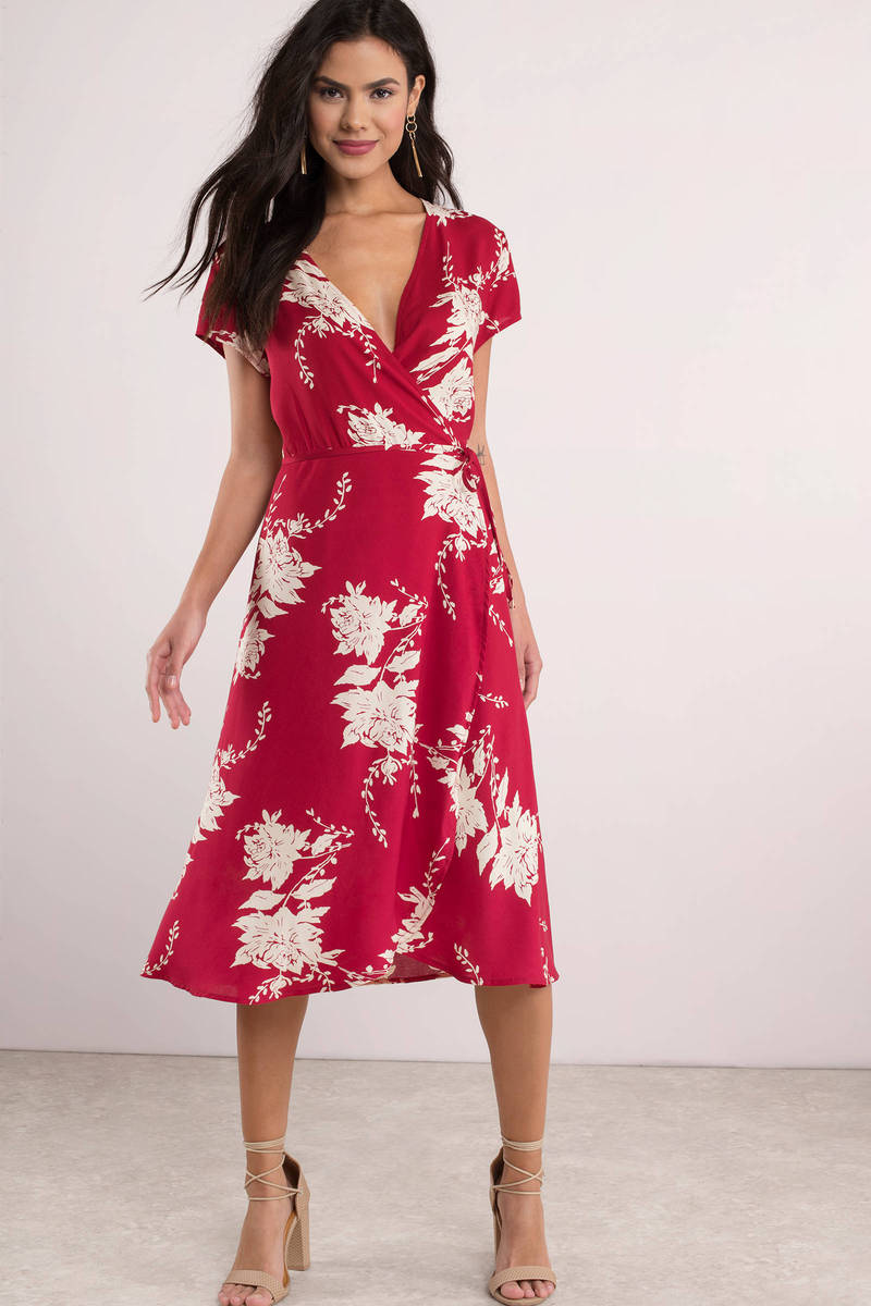 647681b2ba1f6 Fun Red Midi Dress - Reverse Wrap Dress - Short Sleeve Red Dress ...