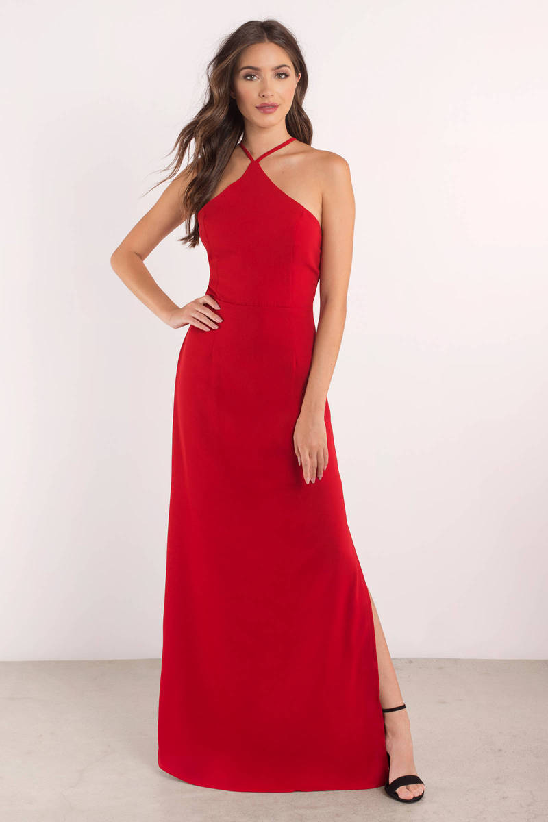 Red Dress - Criss Cross Dress - Sleek Red Dress - Maxi Dress - $76 ...