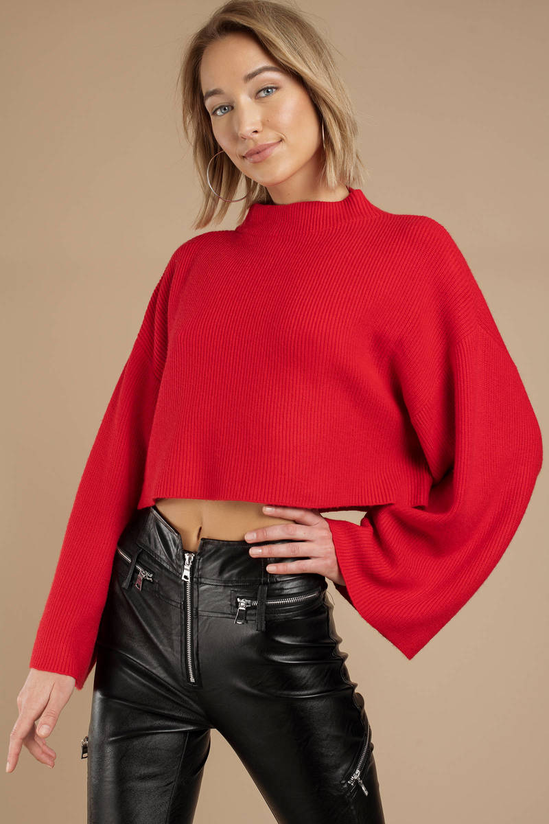 e5513161ea95c Red Twin The Label Sweater - Cropped Sweater - Red Mock Neck Top ...