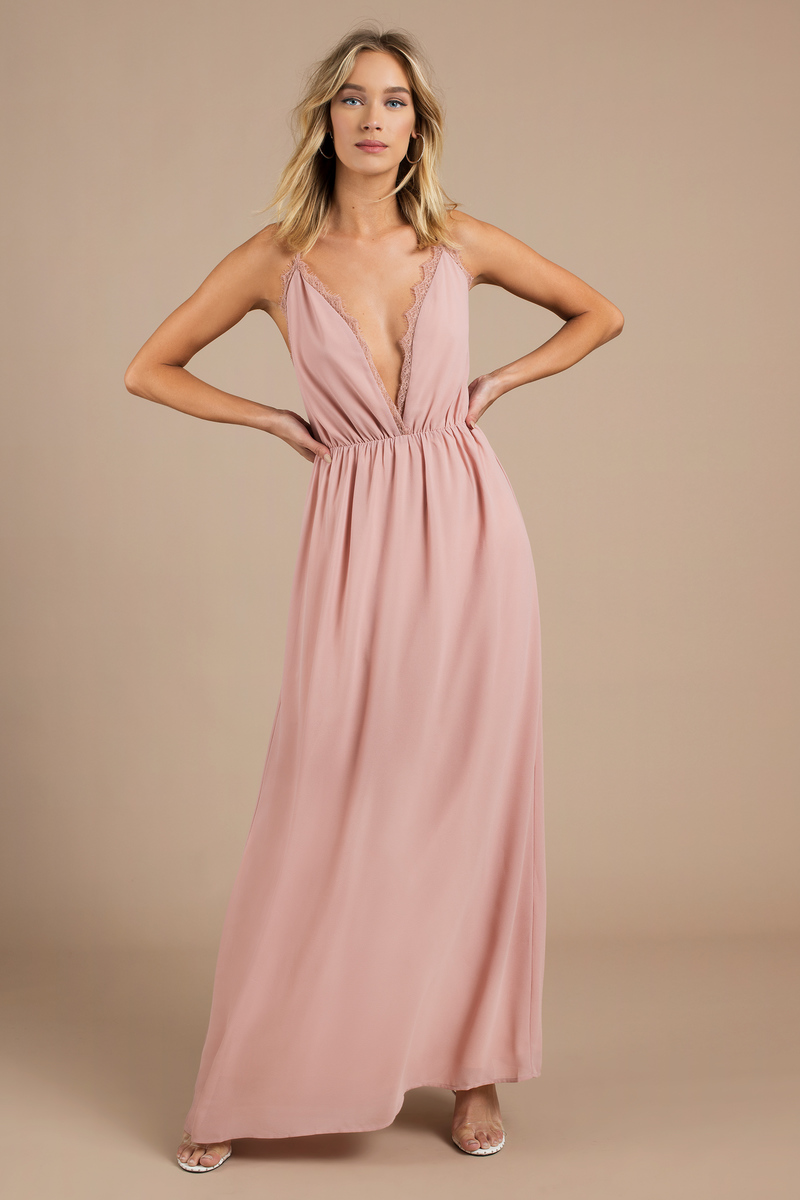 65de215e4741c4 Pink Maxi Dress - Plunging Dress - Wedding Guest Dress - £36 | Tobi GB