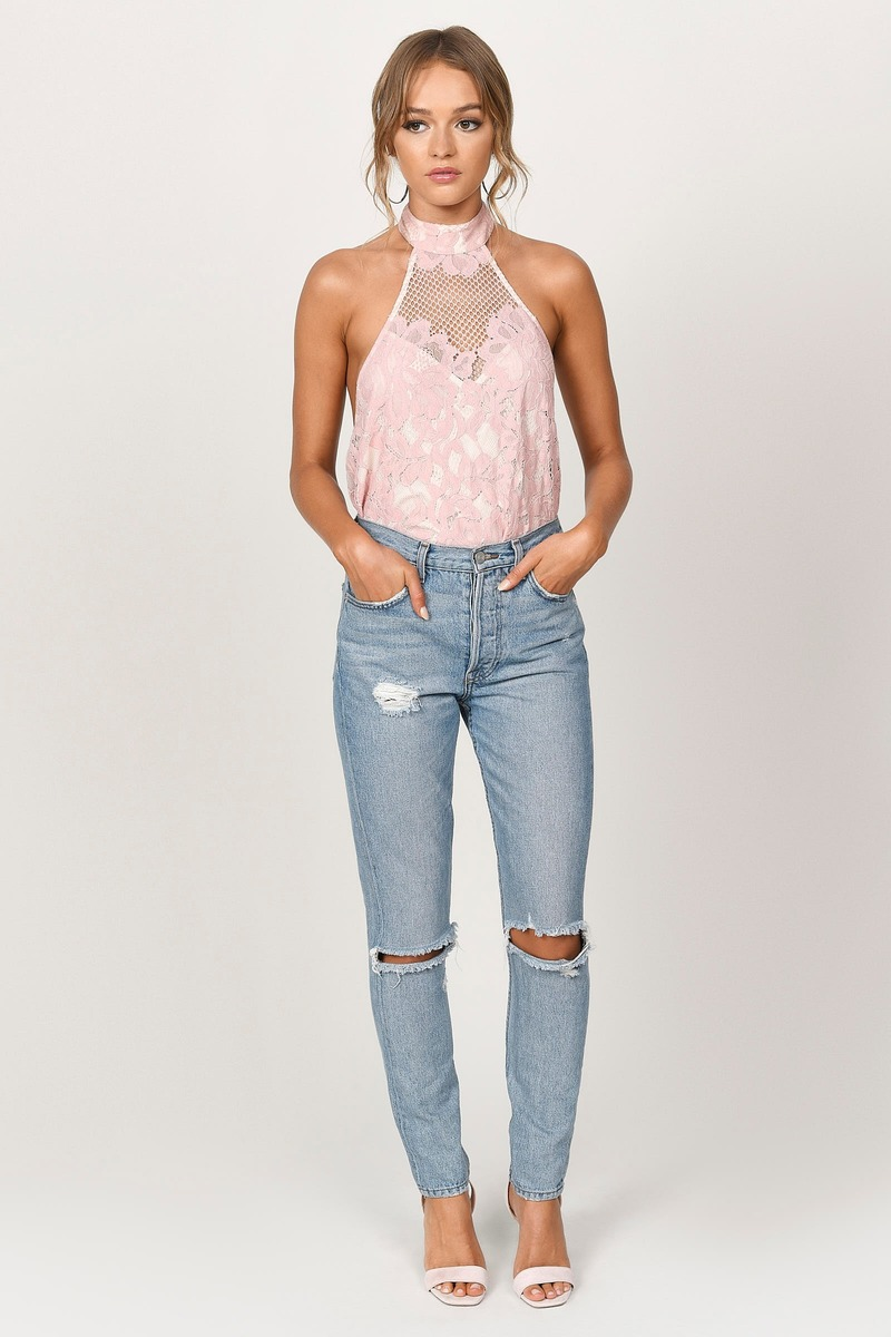 Above All Rose Lace Halter Top