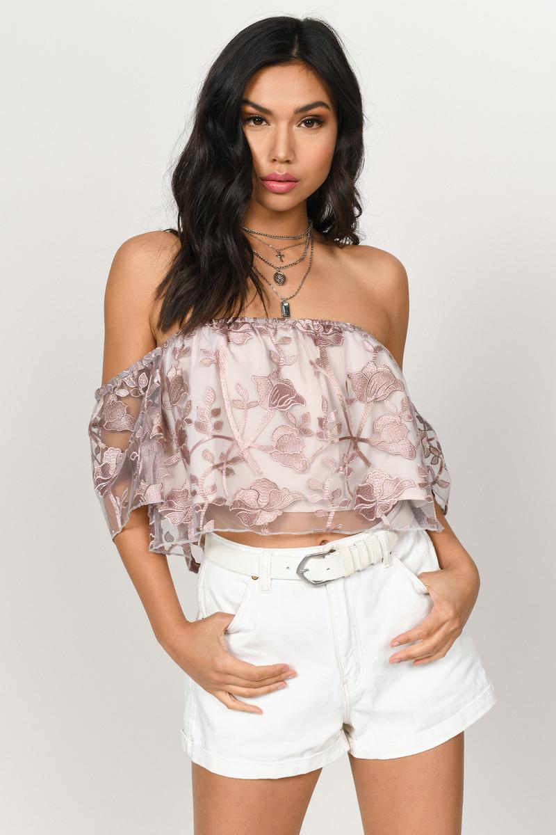 ec79c7e609f Cute Pink Crop Top - Lace Overlay Top - Pink Off Shoulder Top - $23 ...