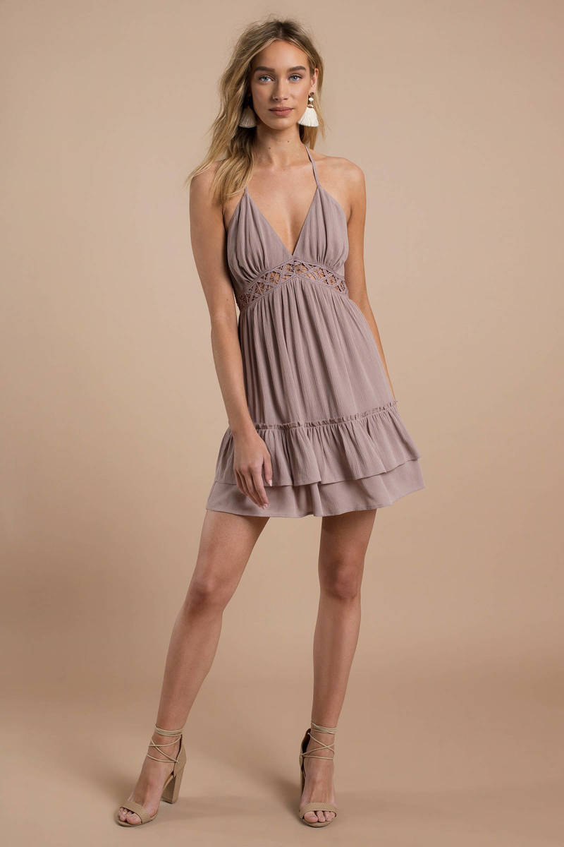 78e9f7c82657 Trendy Pink Day Dress - Deep Plunge - Pink Ruffled Dress - Tiered ...