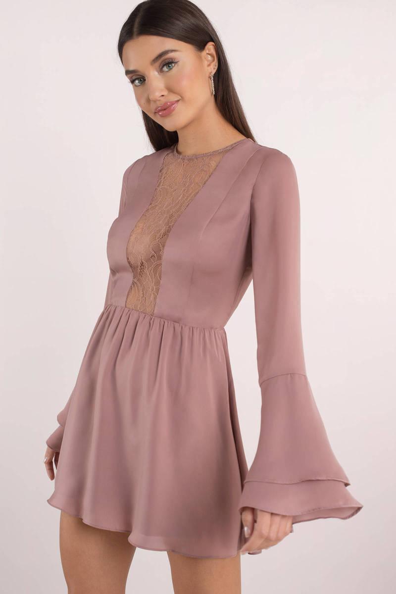 Chic Pink Skater Dress - Lace Insert Dress - Pink Bell Sleeve Dress ... 7aa85c671