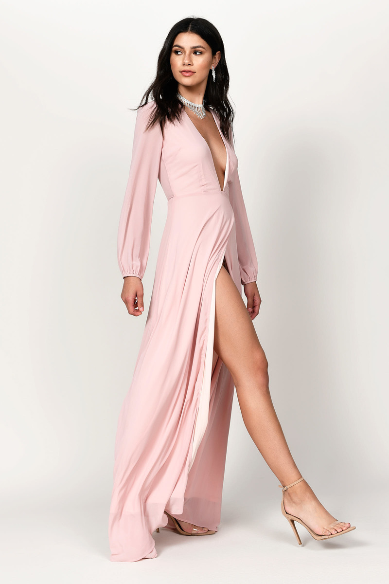 Pink Maxi Dress - Long Sleeve Maxi - Pink Evening Maxi Dress -  32 ... b6407bc93