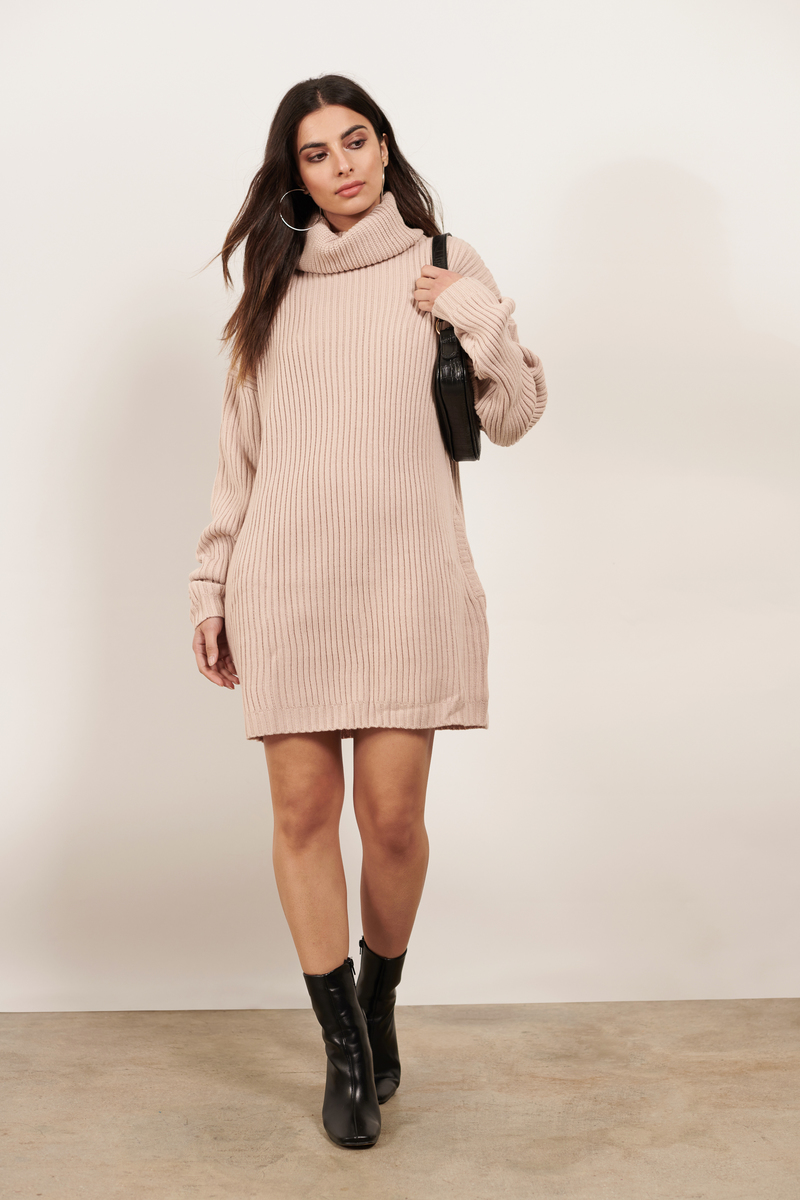 Pink Casual Dress Sweater Dress Pink Turtleneck Dress 44