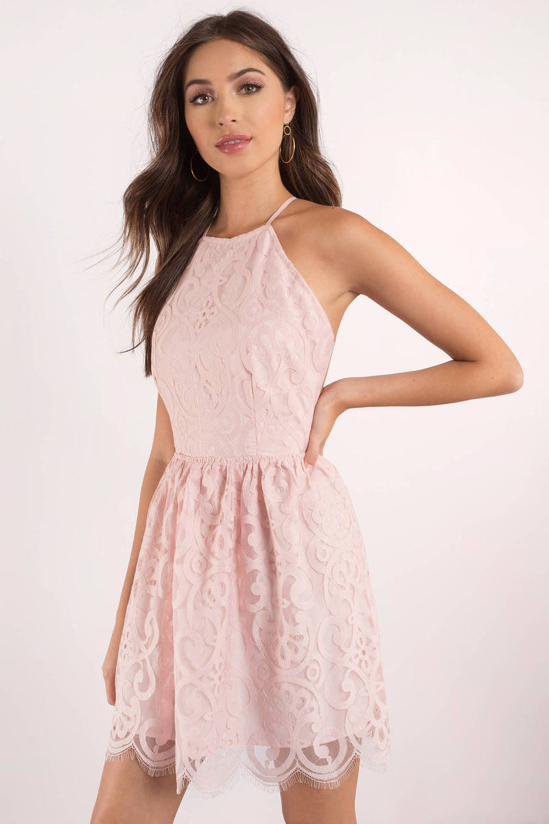 Cute Rose Dress - Lace Dress - Pink Flare Dress - Skater Dress -  31 ... e87dbe3ac