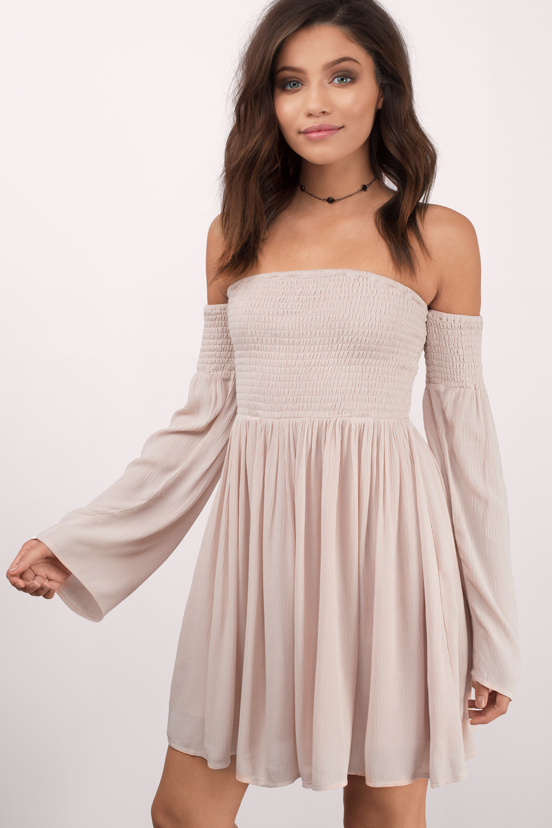 Cute Rose Skater Dress - Off Shoulder Dress - Skater Dress - $39 ...