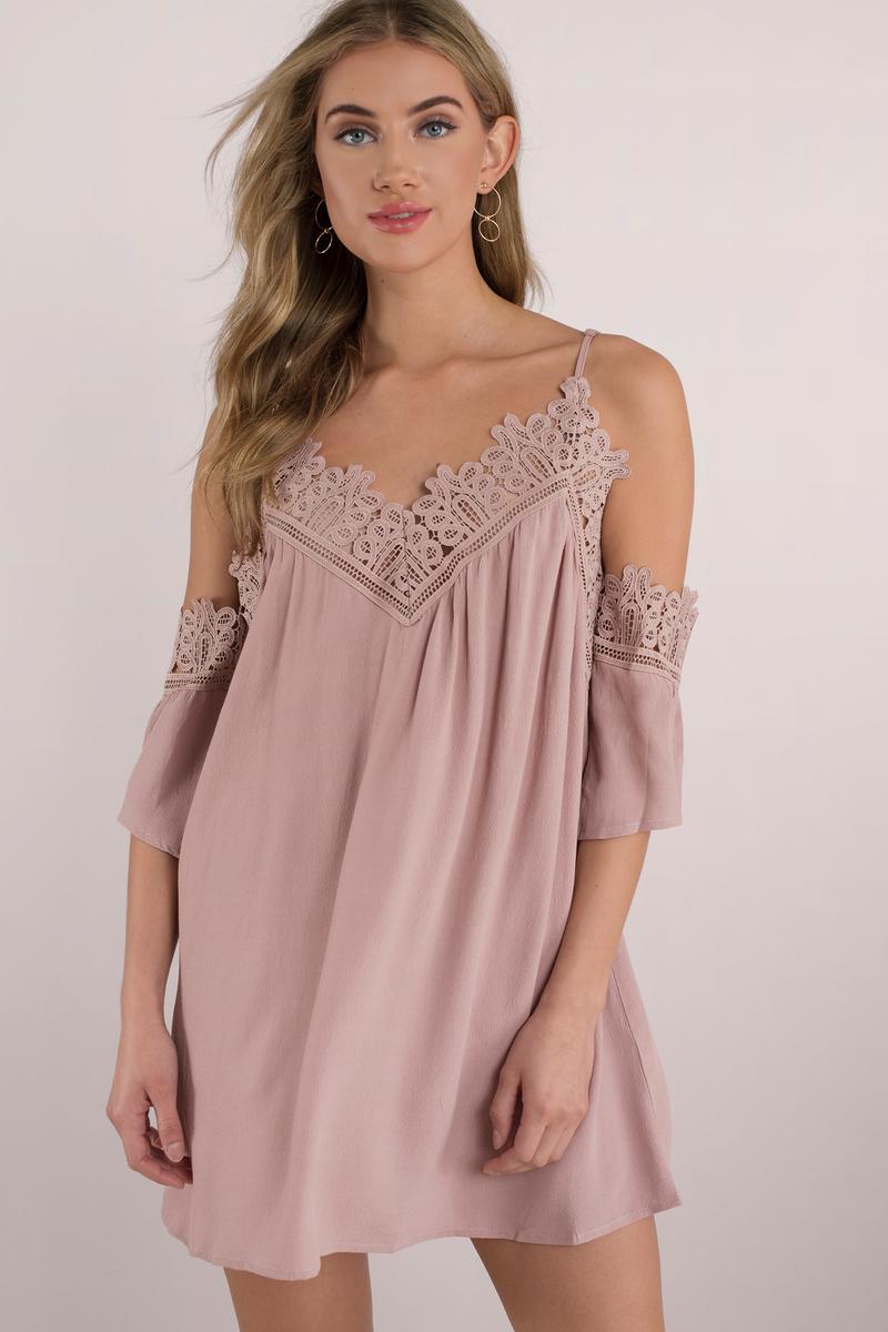 c9ac731f64f32 Sexy Rose Dress - Cold Shoulder Dress - Half Lace Dress - Shift ...