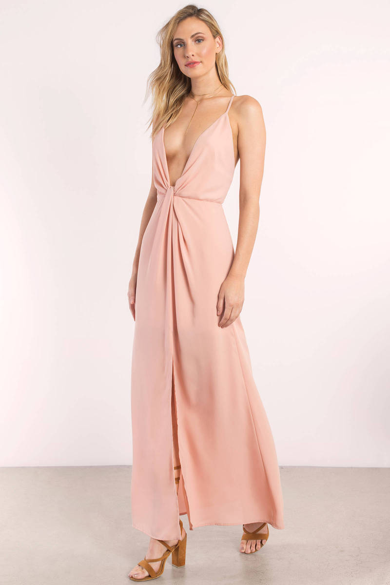 Rose Dress - Front Slit Dress - Coral Pink Maxi Dress - Maxi Dress ...