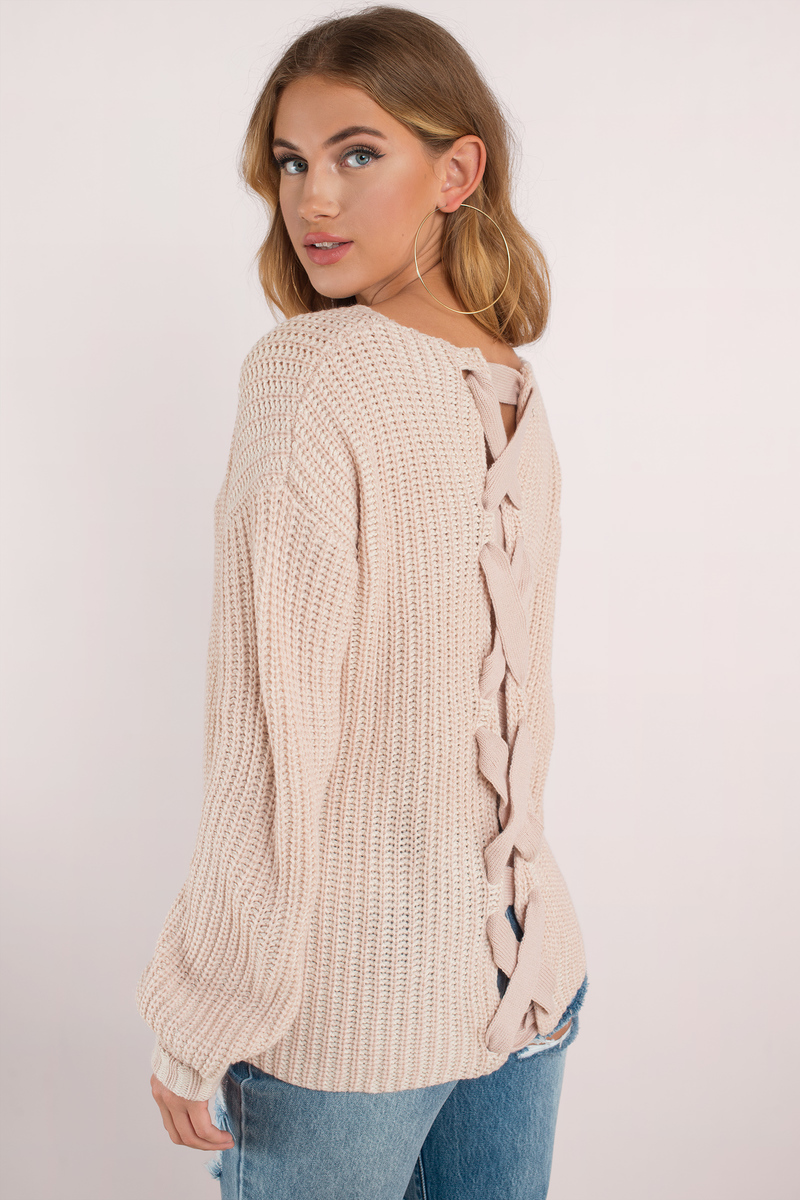 Cute Pink Sweater - Lace Up Back Pullover - Pink Knit Sweatshirt ... 9b3926688