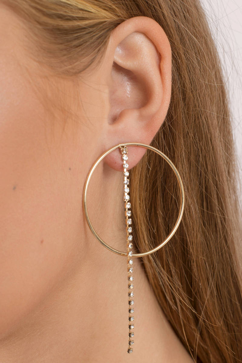 Clarissa Rose Gold Rhinestone Hoop Earrings