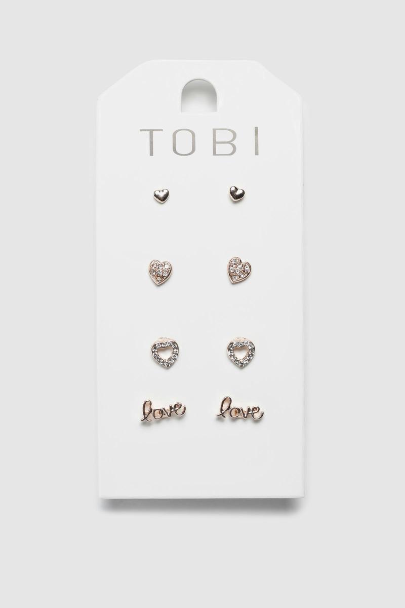 a5f82fe74 Love Season Rose Gold Stud Earring Set - € 5 | Tobi IE