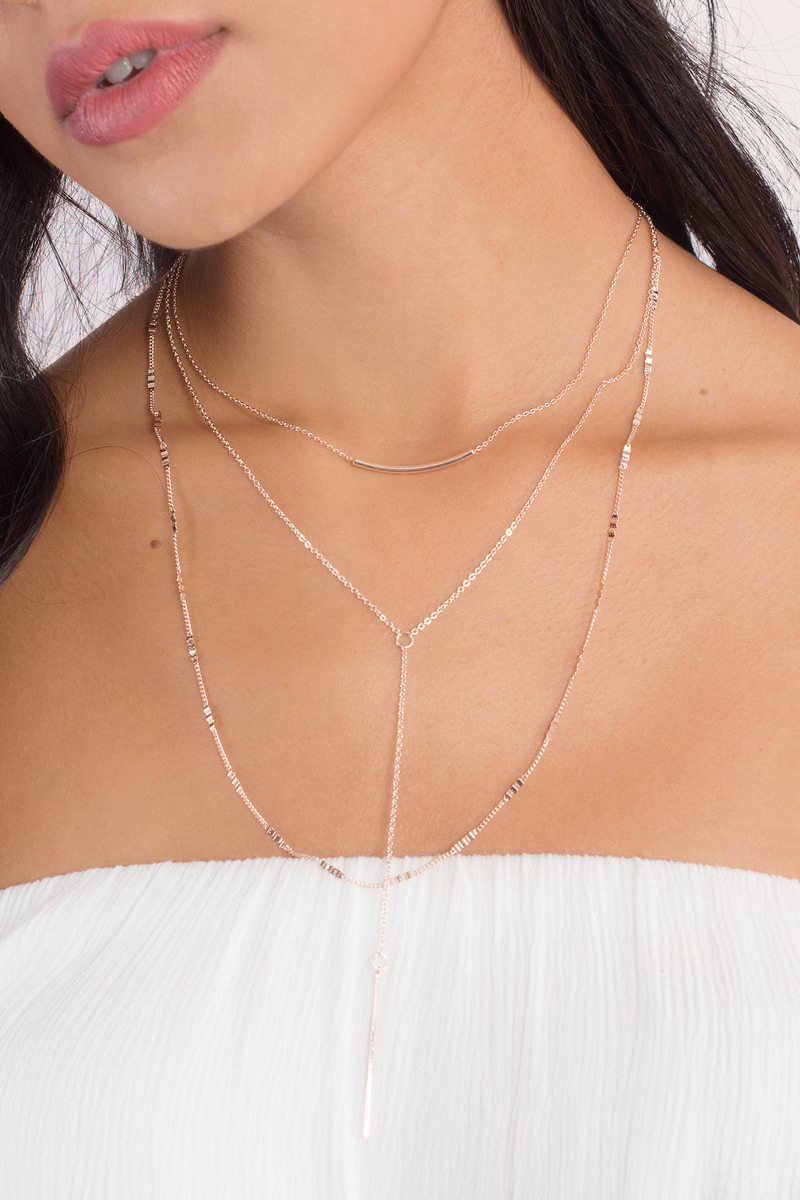 Rosy Rose Gold Layered Lariat Necklace