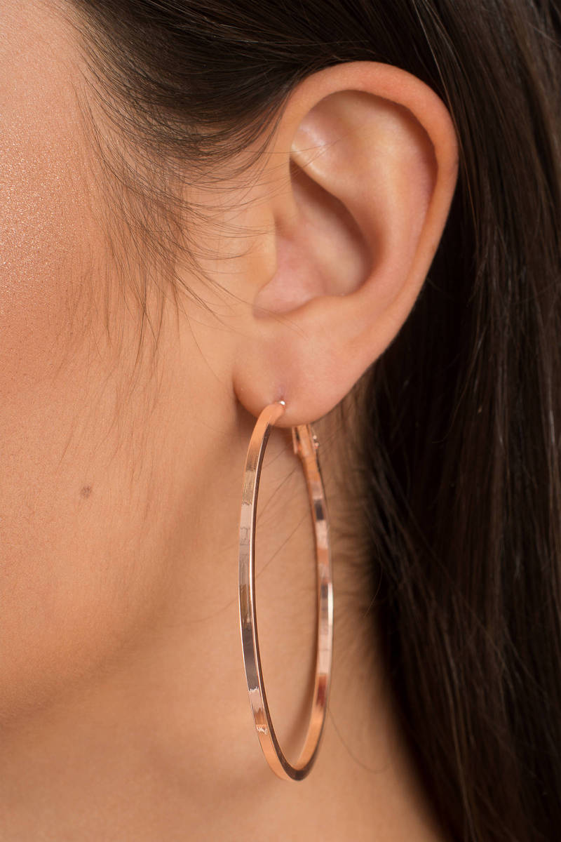 Round N Rose Gold Hoop Earrings