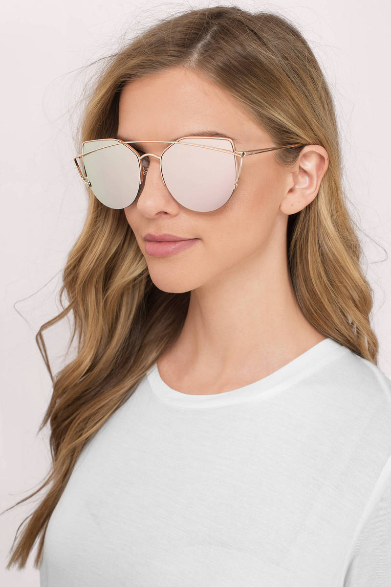 Watch It Rose Gold  Mirrored Sunglasses