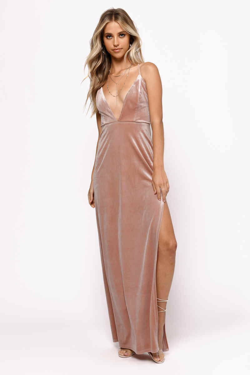 f8d769a1ab9ede Sexy Pink Maxi Dress - Lace Up Velvet Dress - Pink Gown - Formal ...