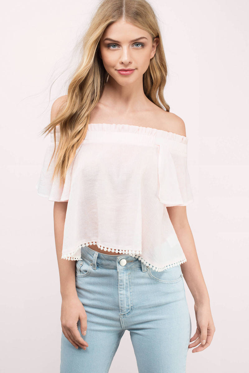 675d300aa3 Rose Top - Off Shoulder Top - Periwinkle Top - $8 | Tobi US