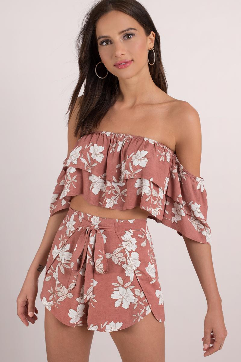 f0d600730db7e6 Trendy Pink Crop Top - Off Shoulder Top - Pink Floral Crop Top - $15 ...
