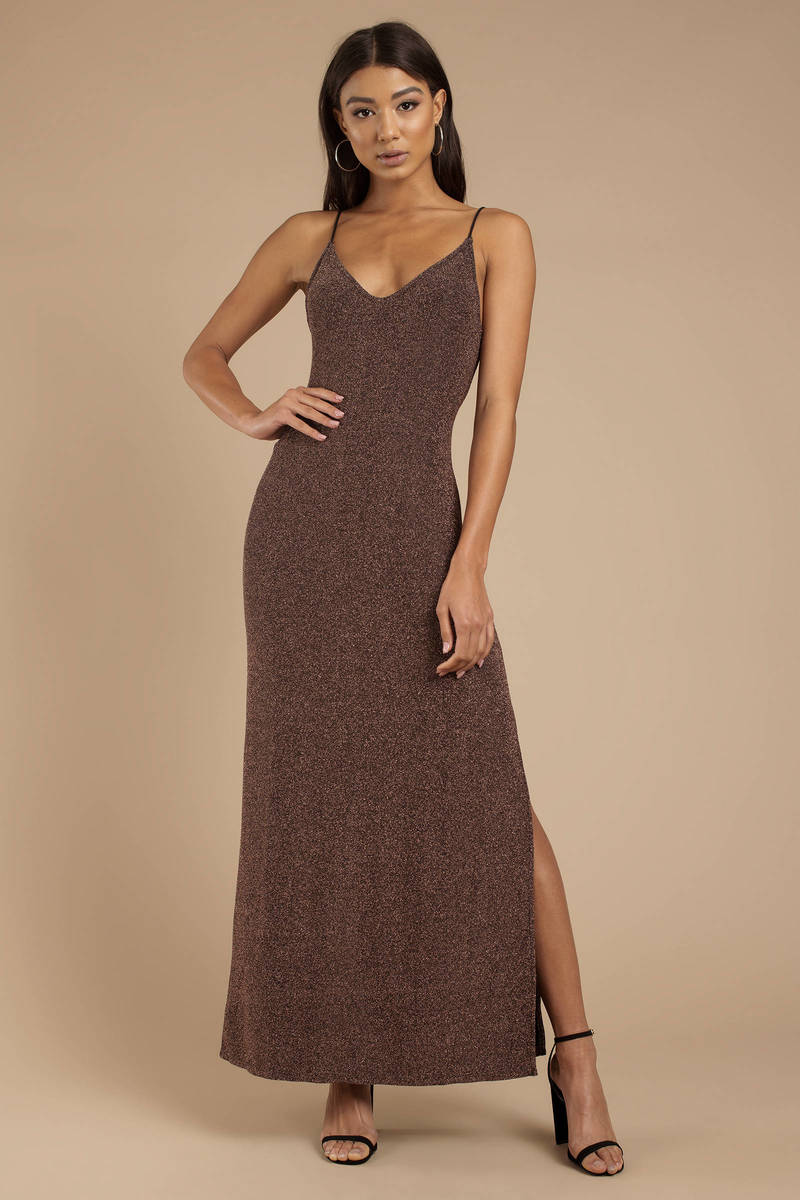 210a191f8 Rose Gold Free People Dress - Glitter Maxi Dress - Rose Gold Maxi ...