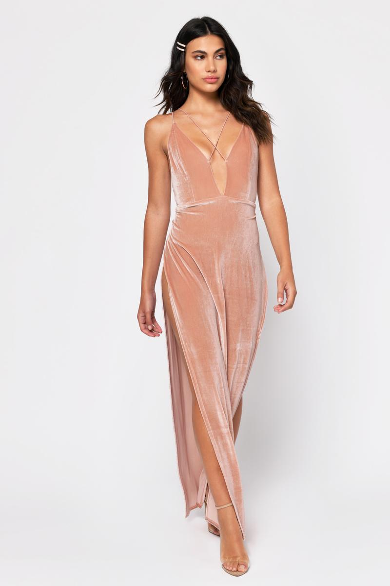 Elegant Pink Dress - Strappy Velvet Dress - Pink Maxi Dress -  39 ... a232ee571