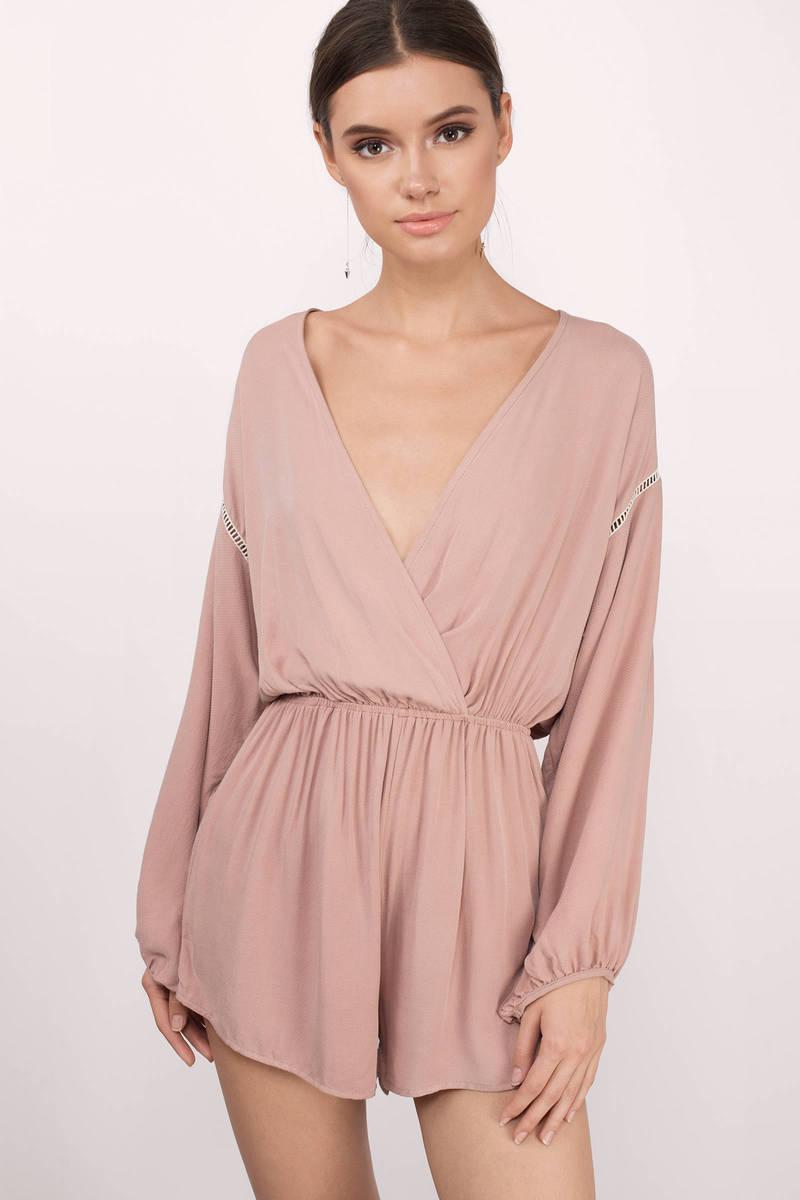 5e178b50cb0f Rose Pink Romper - Wrap Romper - Plunging V Romper - Long Sleeve ...