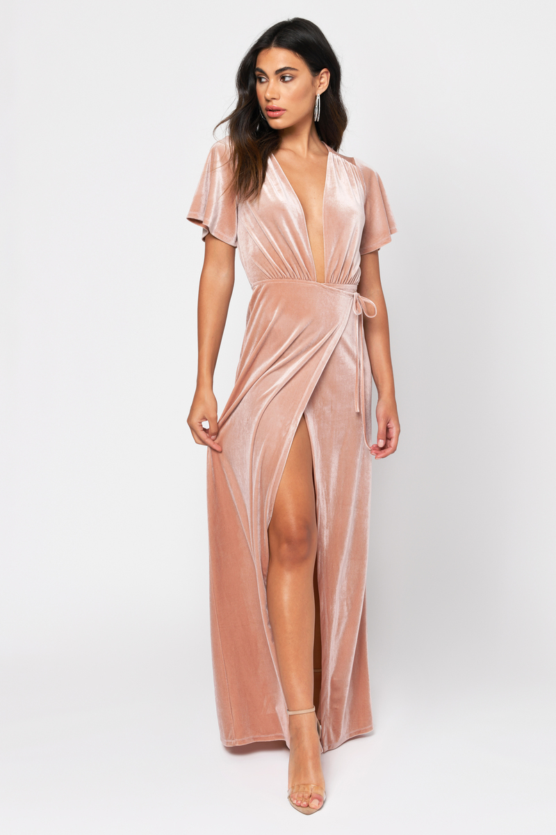 cc484144b054c2 Pink Maxi Dress - Plunging Maxi Dress - Dusty Rose Gown - $26 | Tobi US