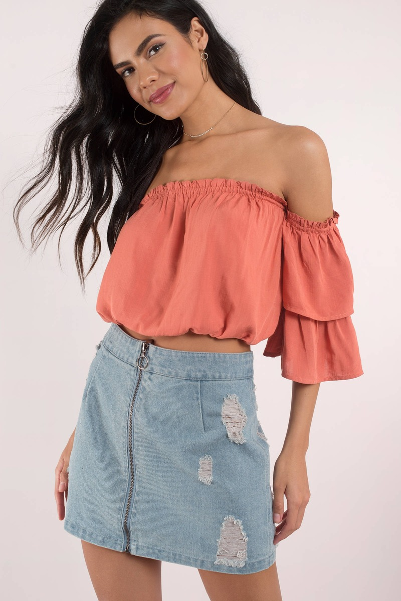6134b3f878eec Cute Rose Crop Top - Off Shoulder Top - Rose Top - Rose Crop Top ...
