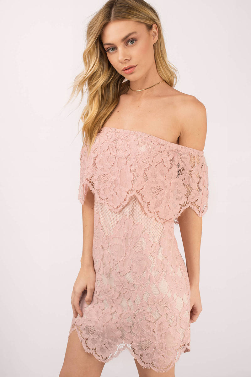 Play For Keeps Rose Off Shoulder Dress