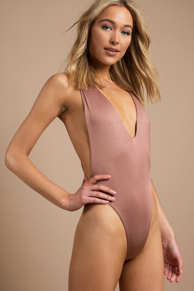 1cbadff0a5b Sexy Pink Swimwear - High Leg Swimsuit - Pink Deep Plunge Swimsuit ...