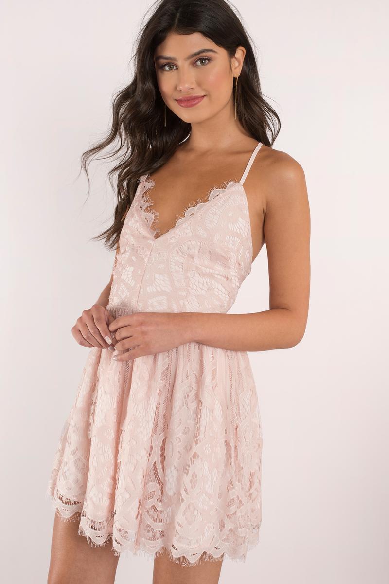 ee2273232ef Rose Dress - Strappy Back Dress - Pretty Pink Dress - Skater Dress ...