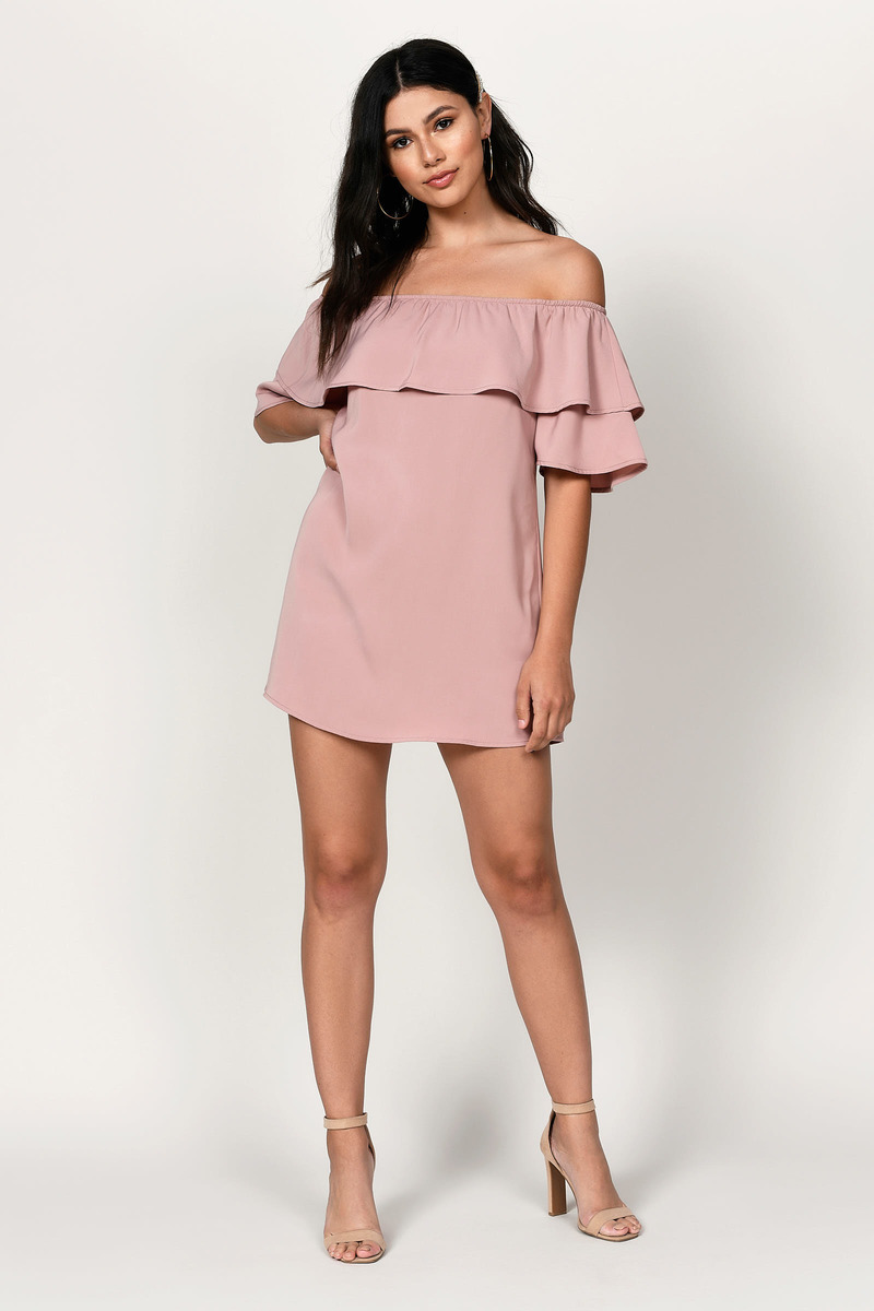 741dbf3b23c Trendy Pink Shift Dress - Fold Over Dress - Pink Off Shoulder Dress ...
