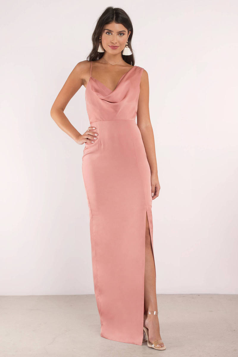 7fc6315397c Gorgeous Pink Maxi Dress - Cowl Neck Maxi Dress - Pink Gown - C  197 ...