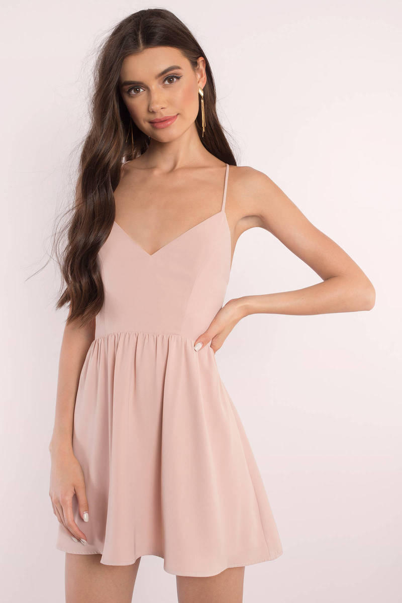 a2fb0a50c5b Rose Skater Dress - Open Back Dress - Pink Dress - Pink Flare Dress ...