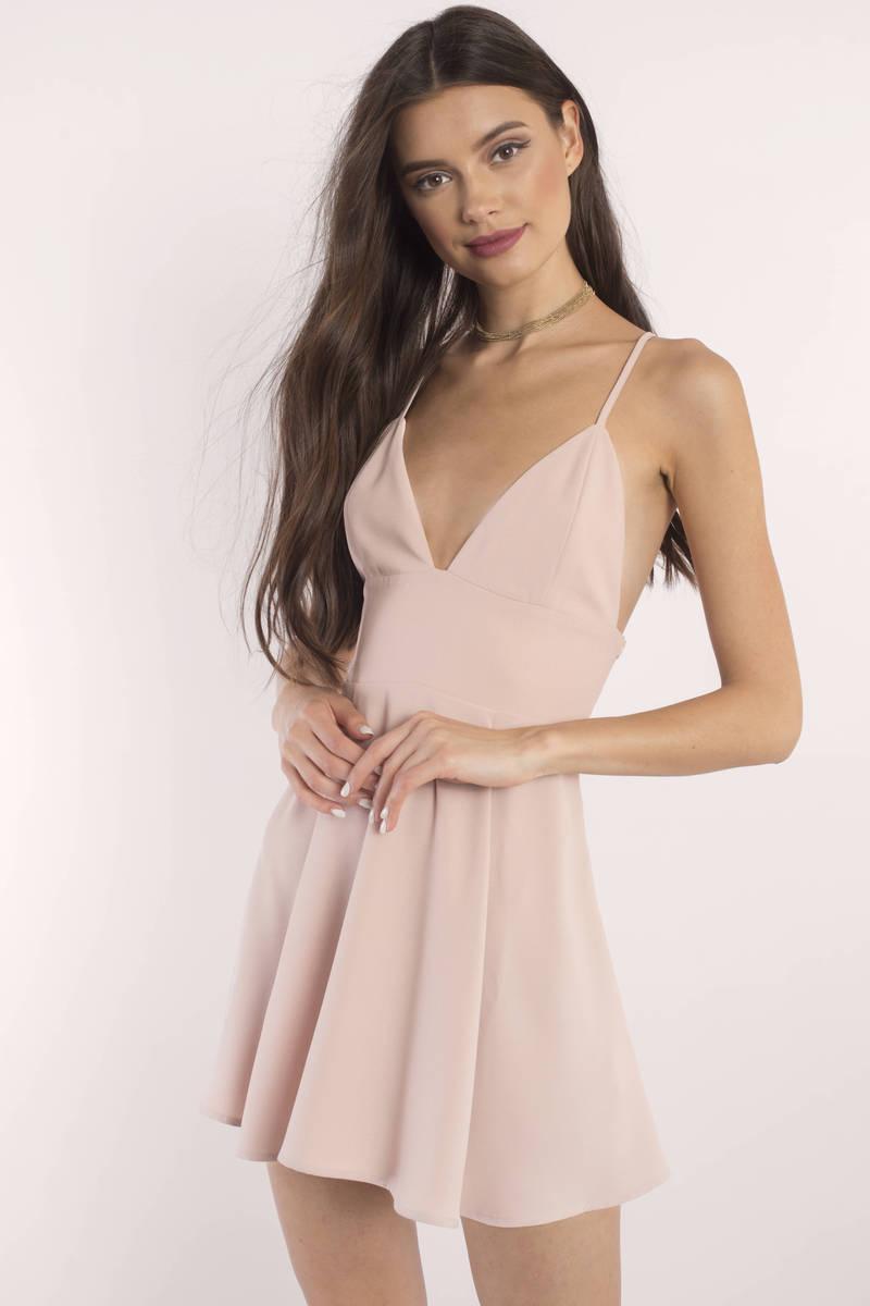 2e25fa0a073 Rose Skater Dress - Deep V Dress - Tie Back Dress - Deep Rose Dress ...