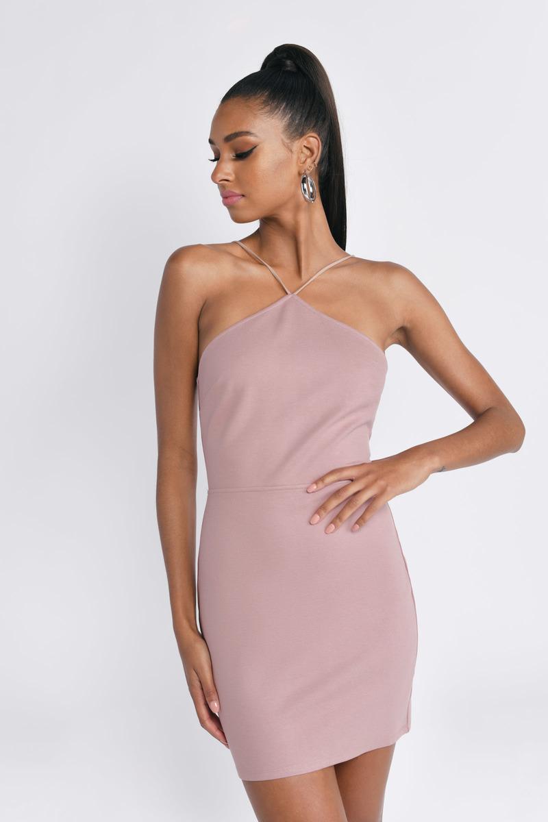 Cute Dress Lace Up Dress Halter Neckline Olive Dress