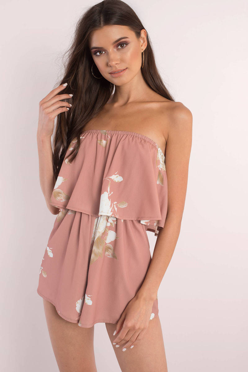 To The Open Rose Strapless Floral Print Romper