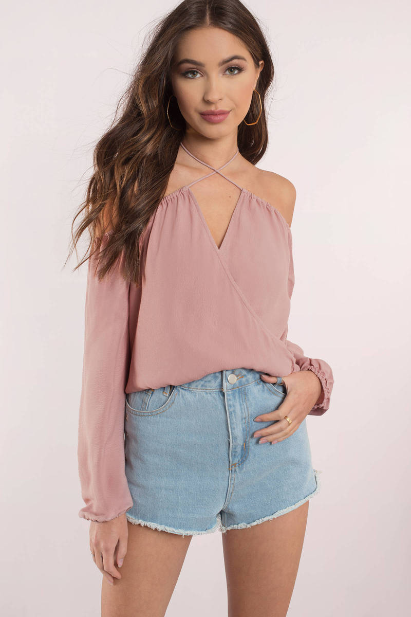 06e3c7b1df3d3 Cute Top - Off Shoulder Top - Long Sleeve Top - Rose Blouse -  58 ...