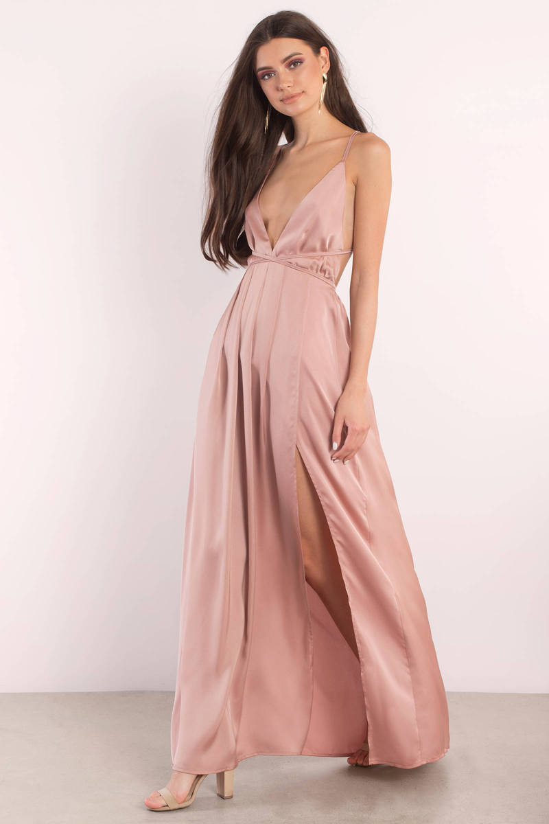 f8b60daea11 Sexy Rose Dress - Slit Dress - Rose Satin Gown - Maxi Dress - C  175 ...