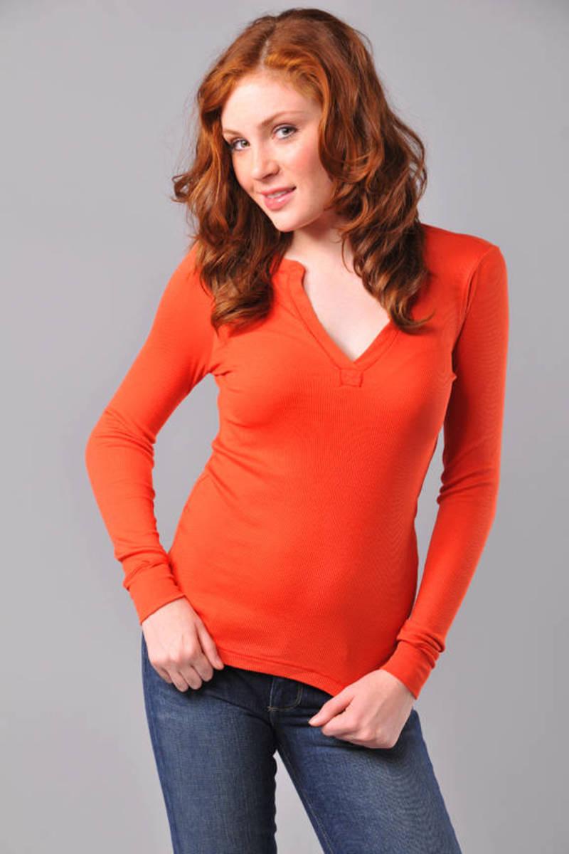 75aebe51 Orange Splendid Tee - Long Sleeve Top - Orange Henley T Shirt - $22 ...