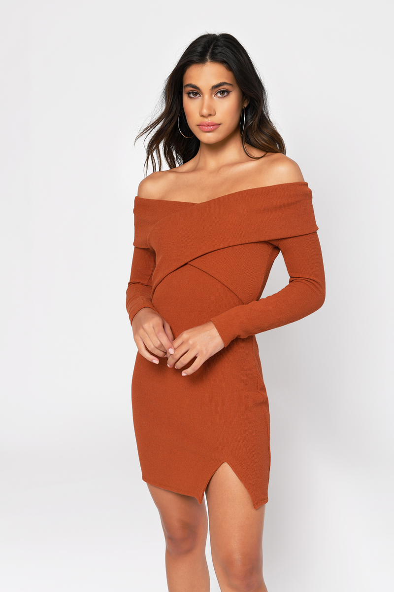 ccebe1699625 Rust Orange Sweater Dress - Off Shoulder Dress - Rust Orange Bodycon ...