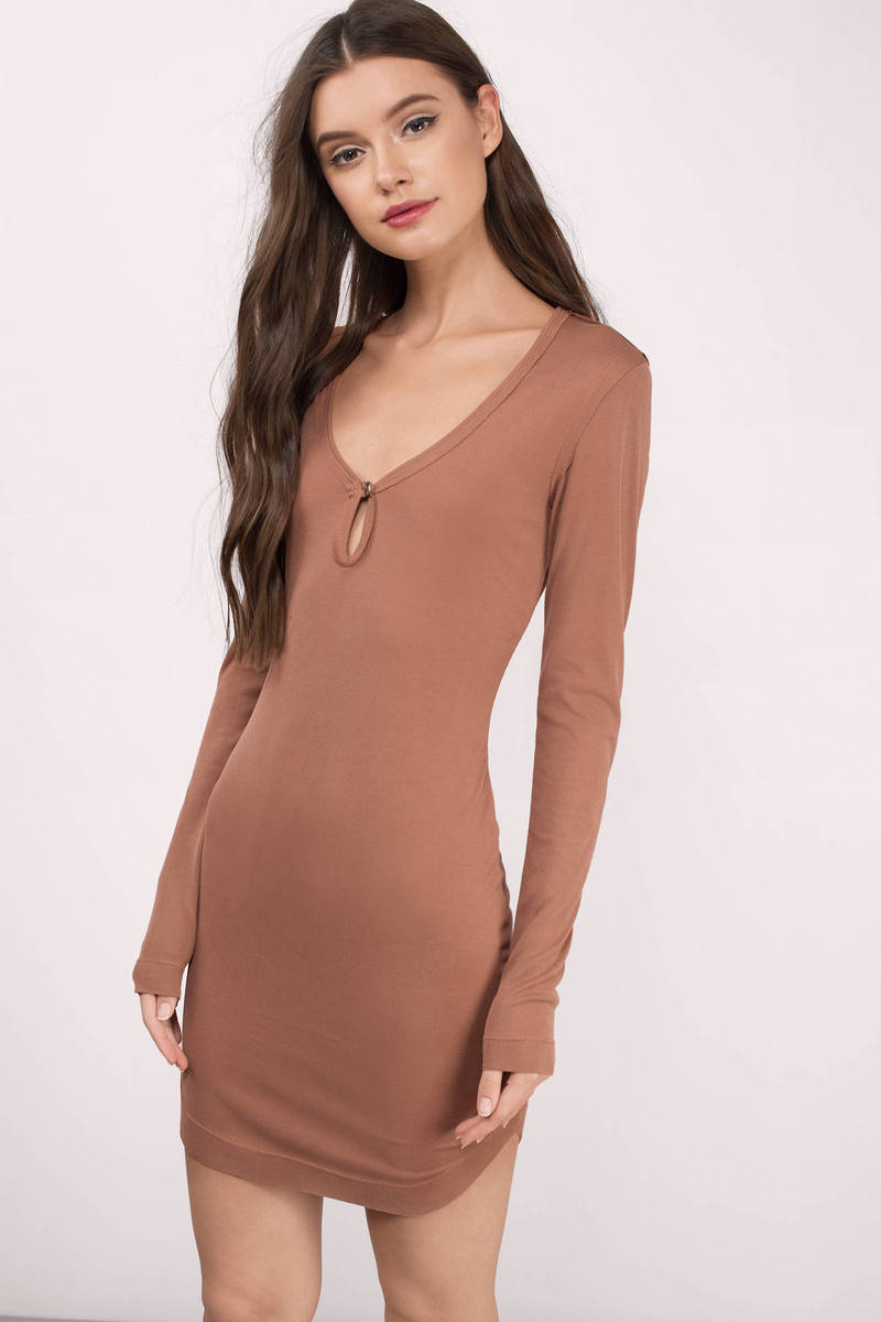 Cecilia Rust Jersey Knitted Bodycon Dress