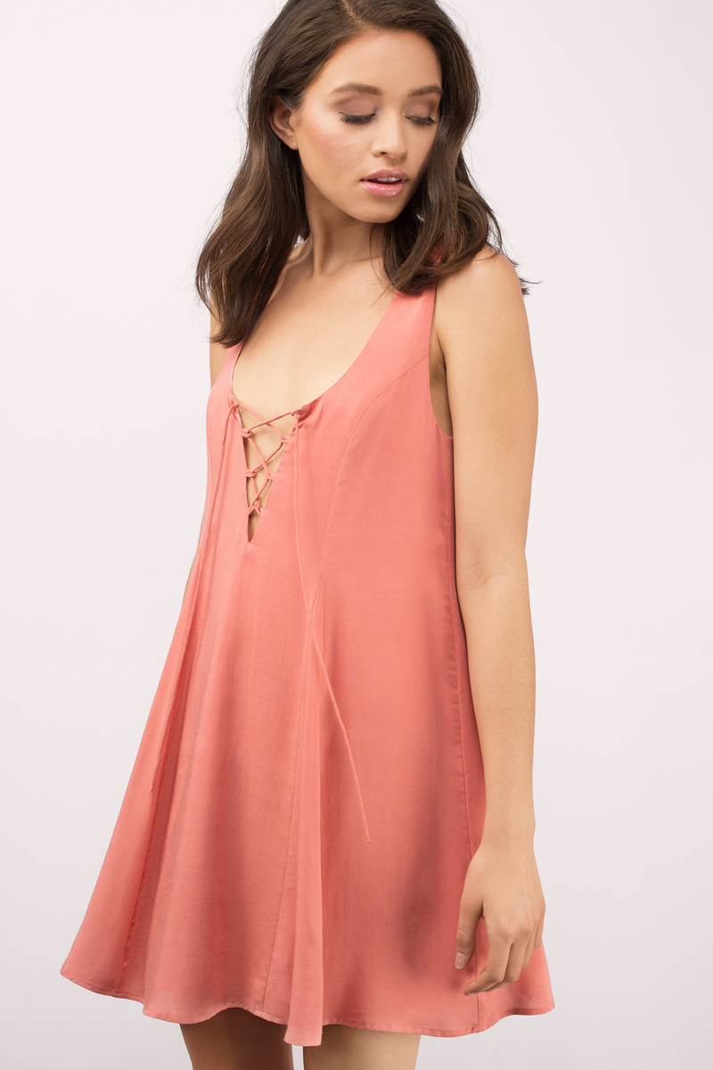 Orange Dress Low Back Dress Shift Dress Swing Dress 15