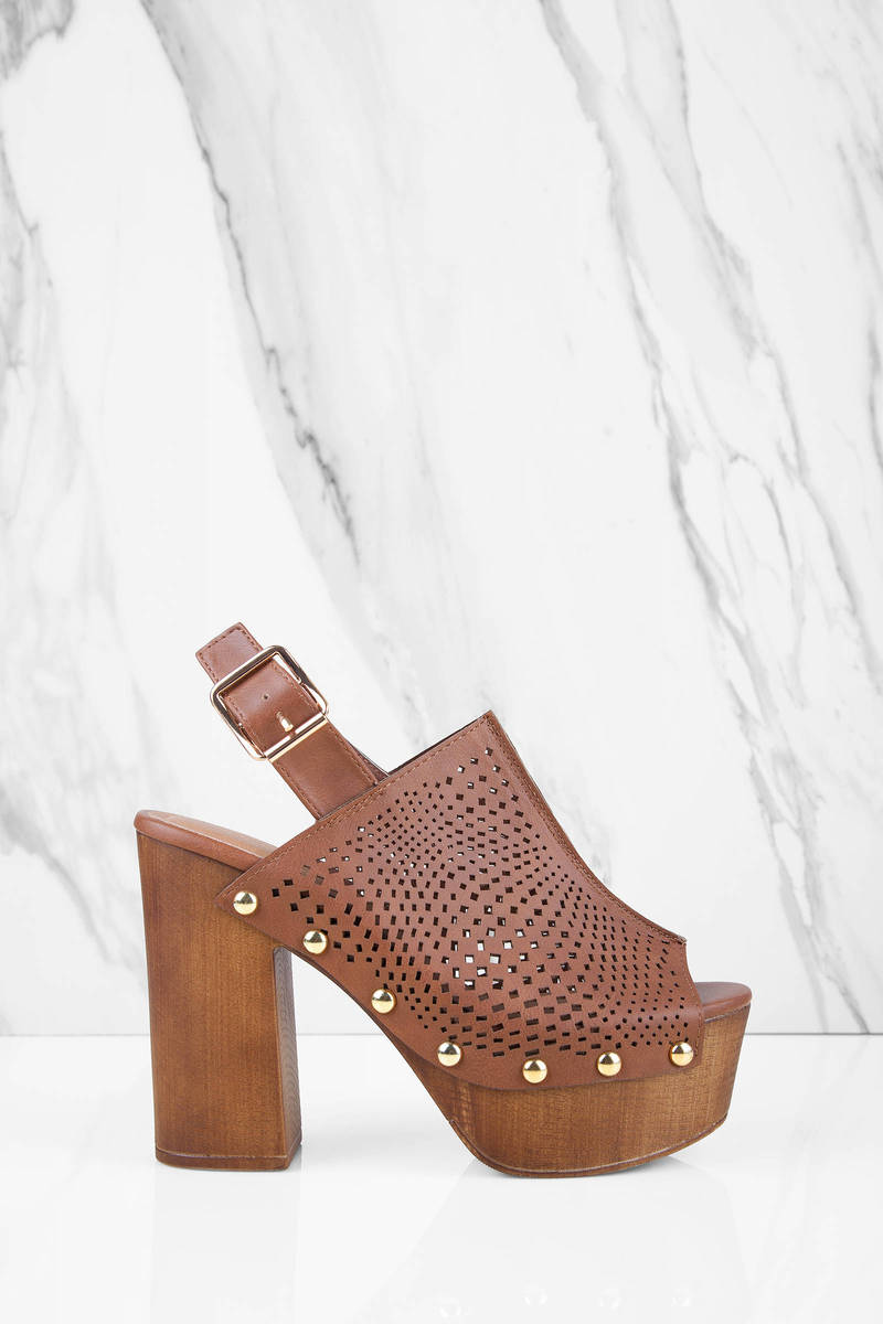 Eva Rust Peep Toe Platform Heels