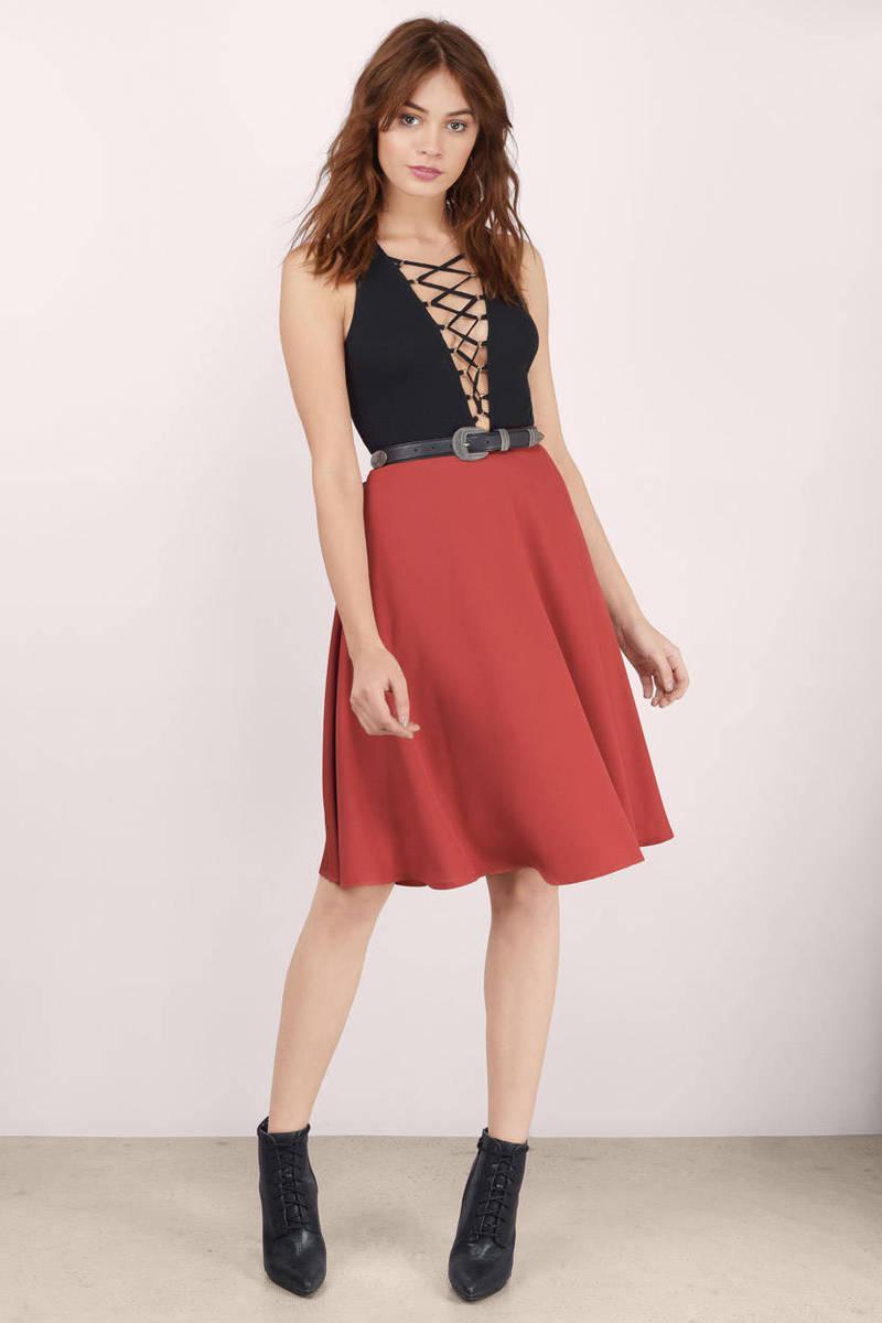Rust Skirt - Red Skirt - Midi Skirt - Red Flare Skirt - $50.00